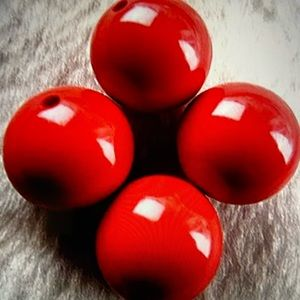3/$12 4pc 14mm Red Coral Ball Pendant Beads